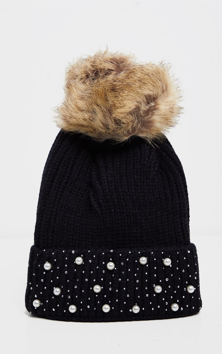 Black Pearl And Diamante Contrast Pom Beanie Hat 2
