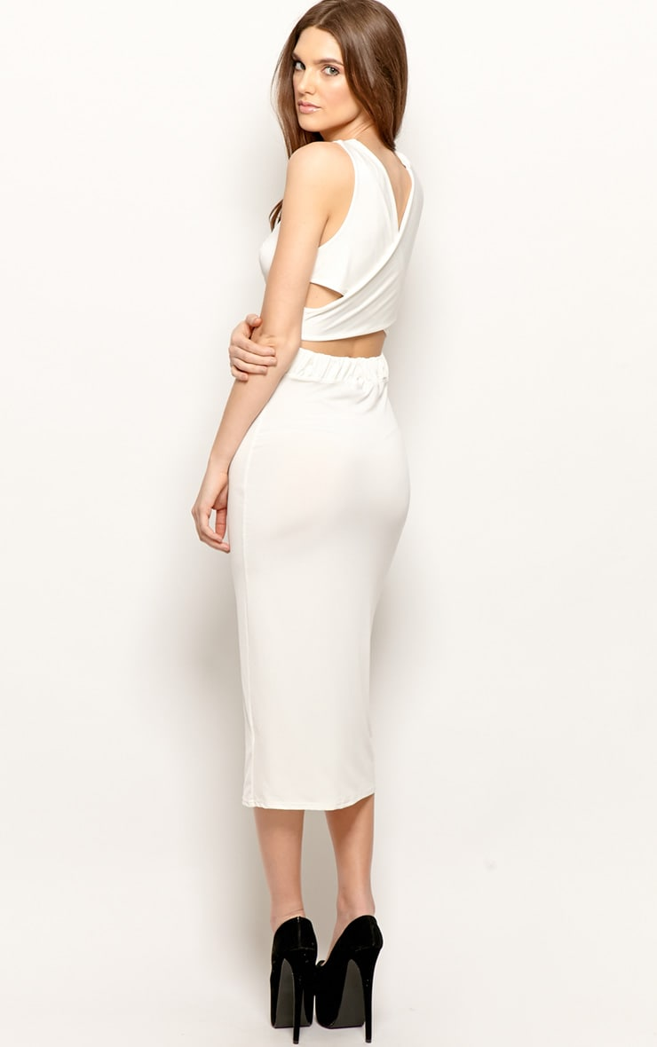 Chrissy White Silk Cowl Front Midi Dress 3