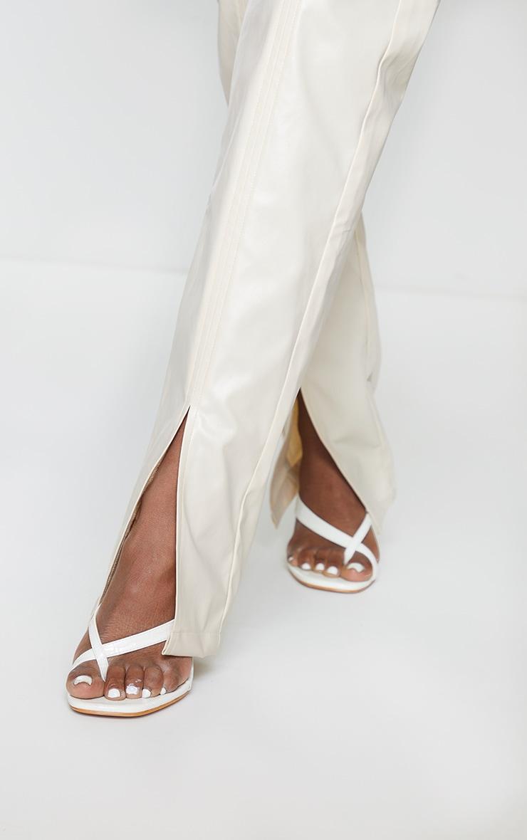Cream Faux Leather Split Hem Seam Detail Skinny Pants 4