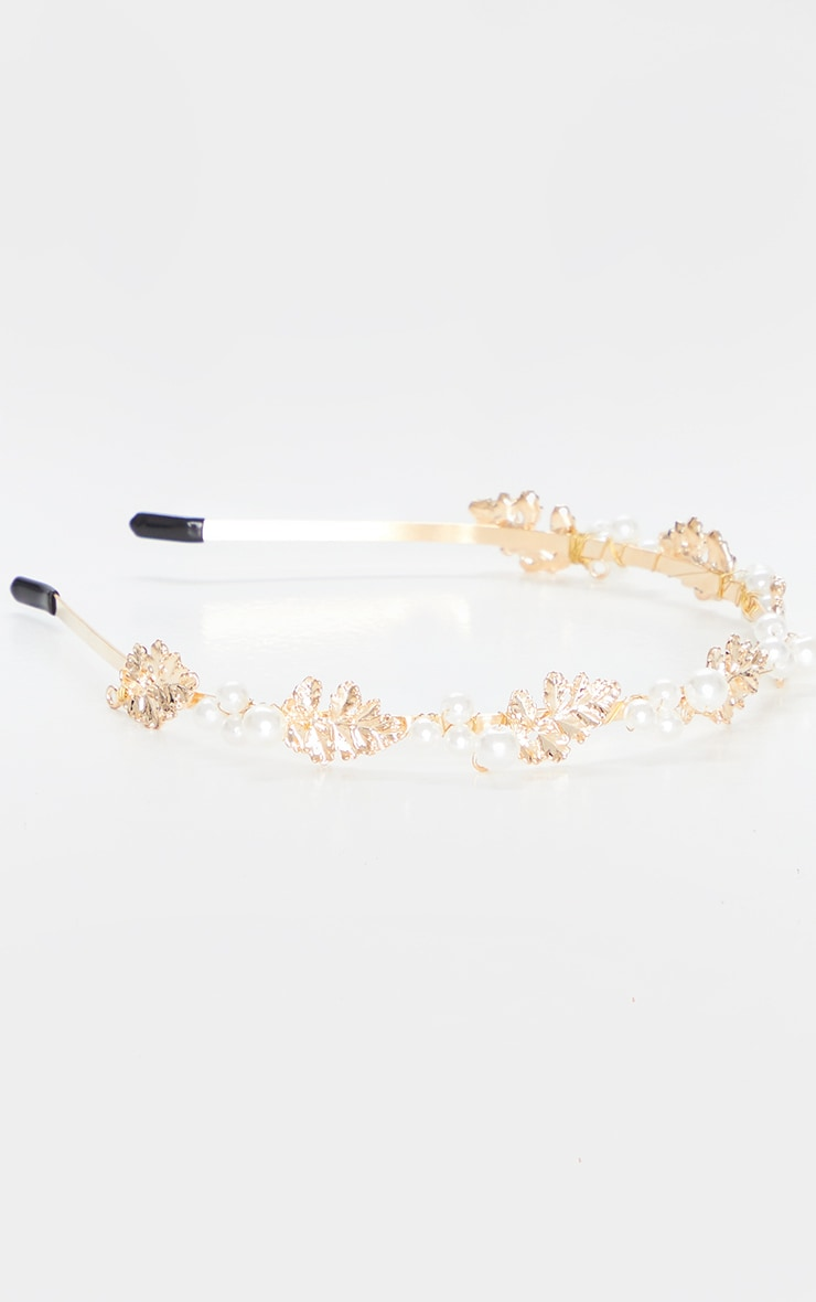 Gold Leaf White Pearl Headband 3