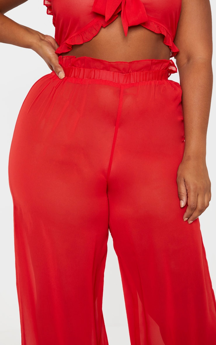 Plus Red Sheer Chiffon Floral Ruched Waist Wide Leg Pants 5