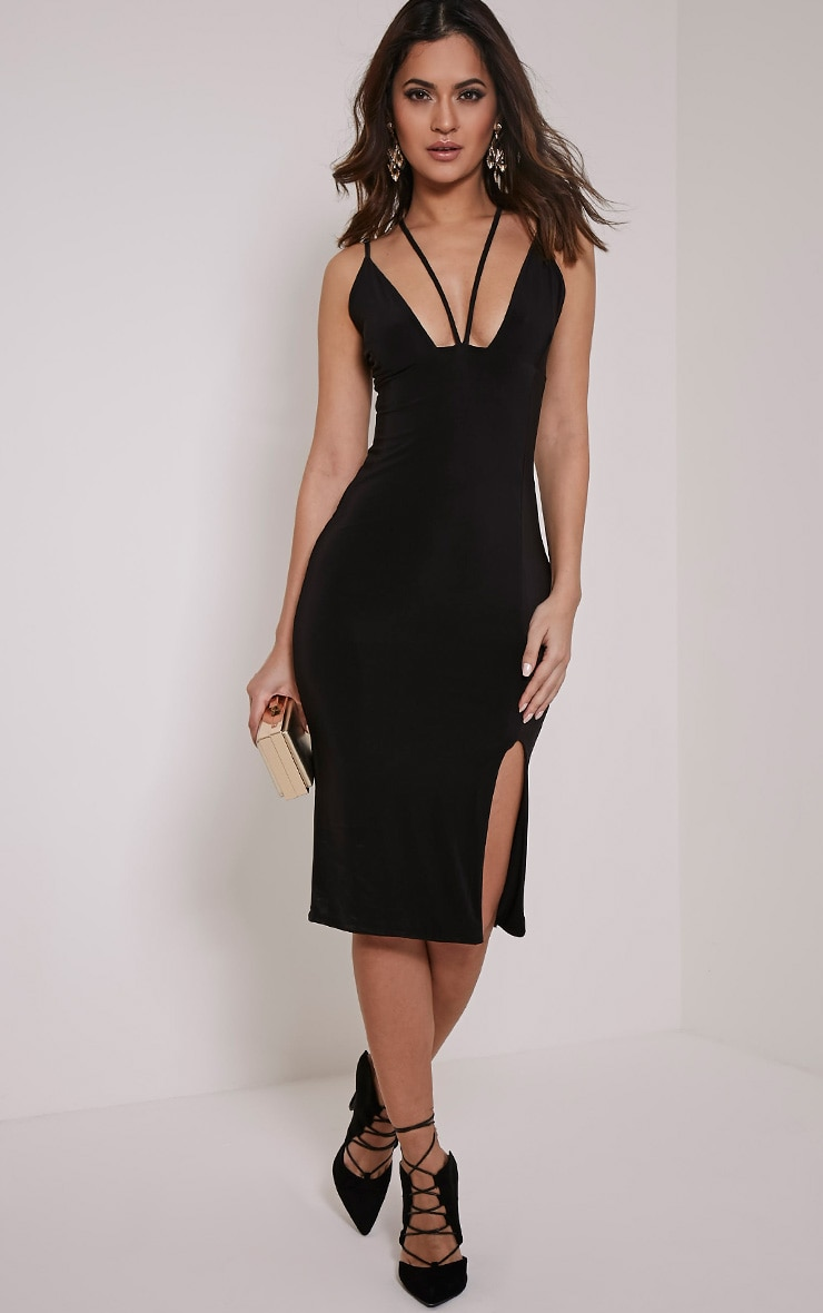 Tana Black Double Strap Slinky Midi Dress 5