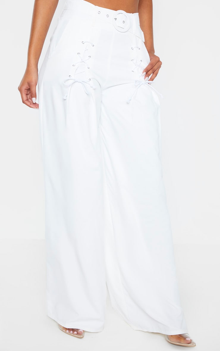 White Woven Belted Lace Detail Wide Leg Pants 4