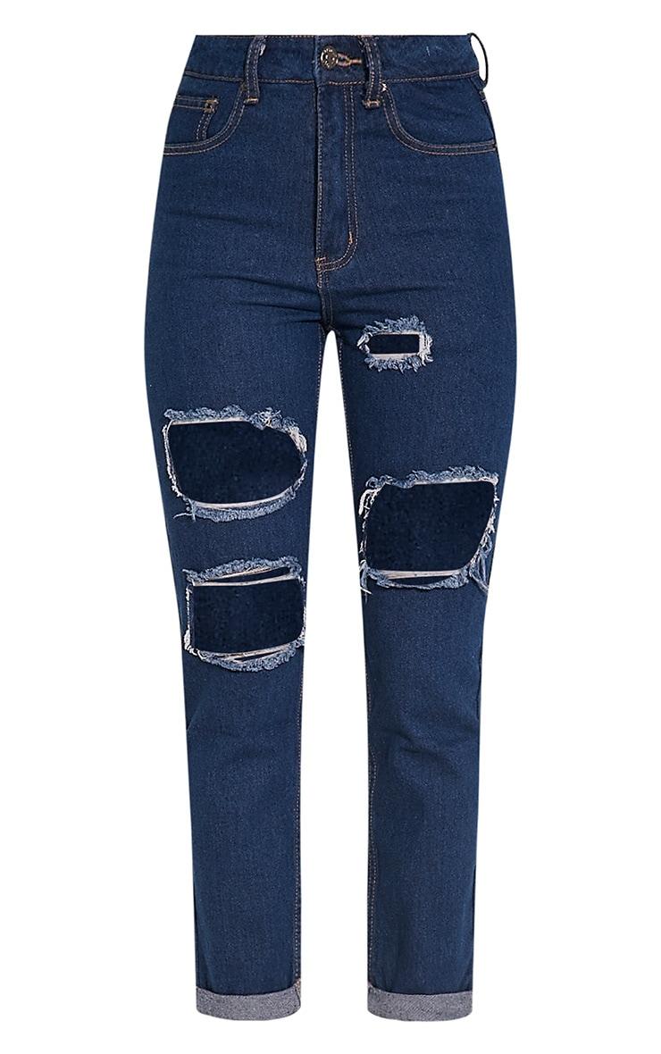 Carley Blue Dark Wash Extreme Rip Straight  Leg Jeans 3
