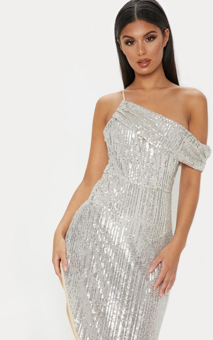 Silver Sequin Off The Shoulder Midi Dress  5