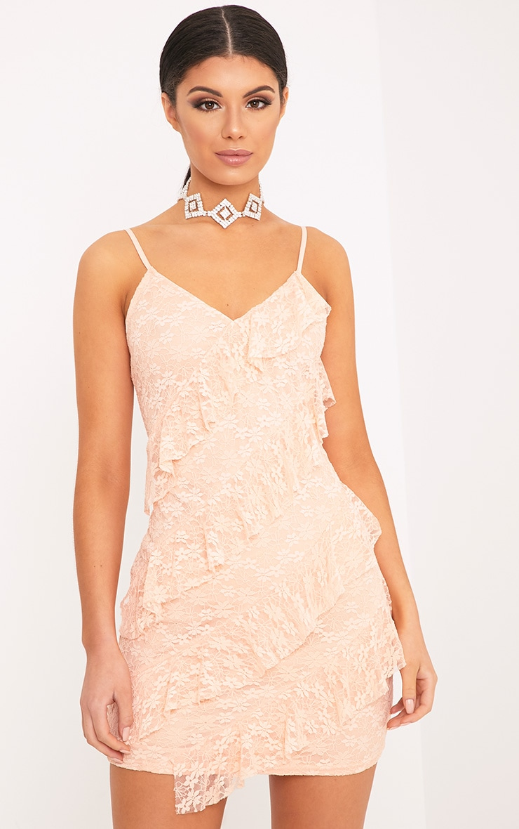 Brittany Blush Strappy Lace Frill Bodycon Dress 1