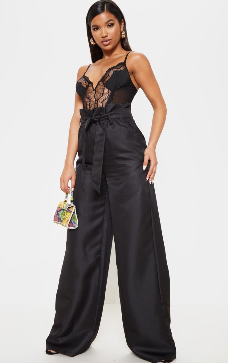 Black Tie Waist Paperbag Wide Leg Trouser 1