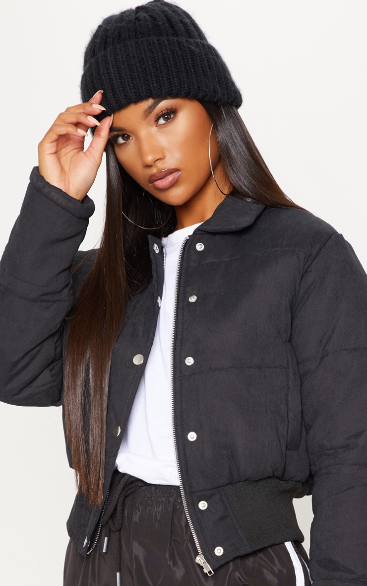Black Peach Skin Cropped Puffer Jacket 5