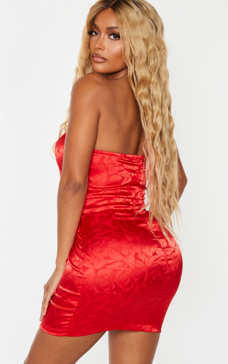 Shape Red Printed Satin Bandeau Bodycon Dress 2