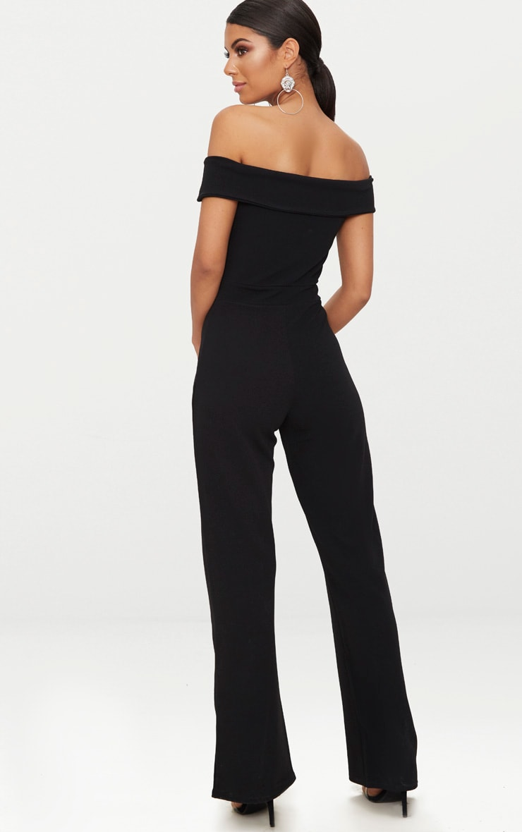 Black Crepe Bardot Folded Detail Jumpsuit 2
