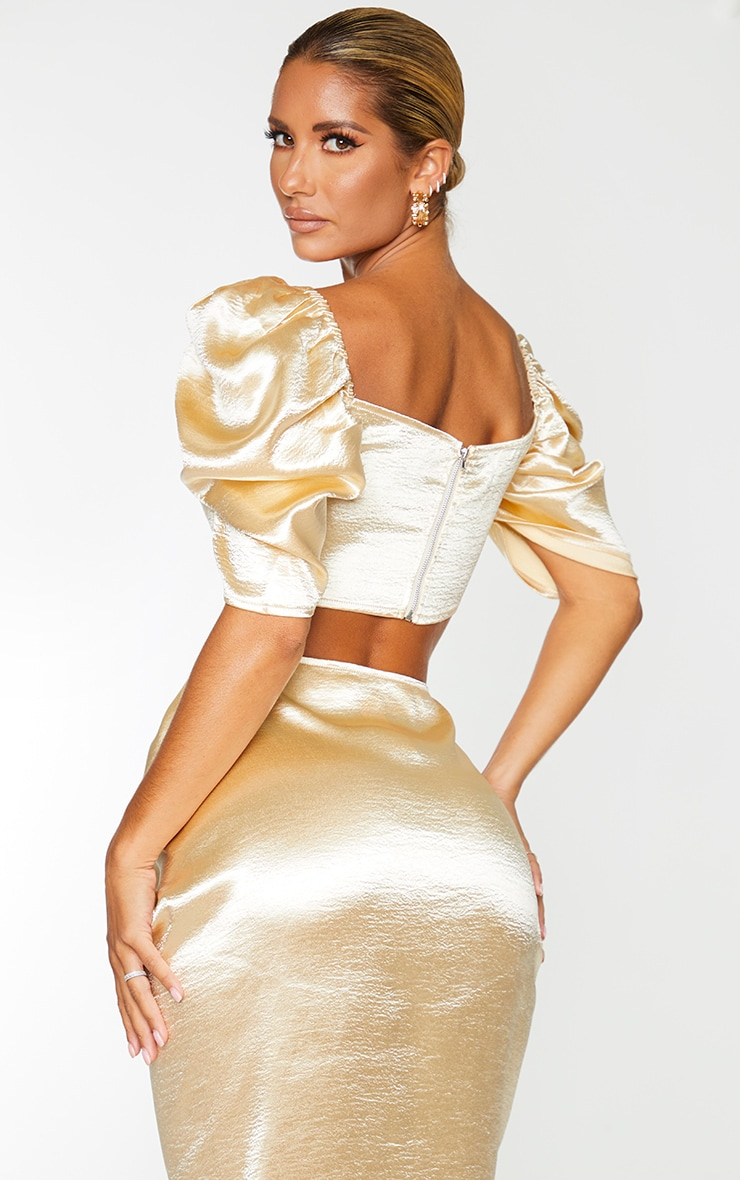 Cream Satin Ruched Puff Sleeve Cup Detail Crop Top 2