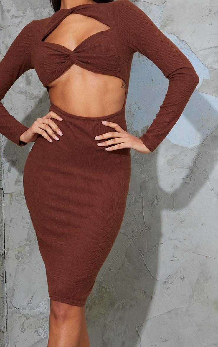 Chocolate Brushed Rib Twist Detail Cut Out Midi Dress 4