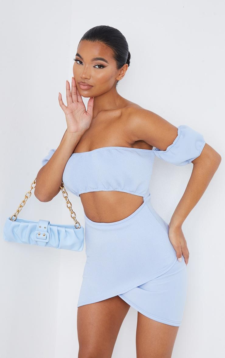 Robe moulante en néoprène bleu ciel à jupe portefeuille 1