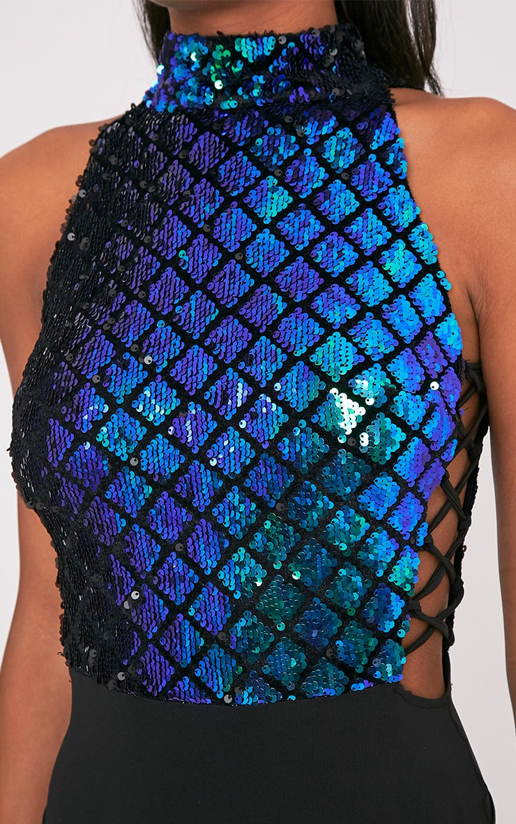 Lindie Blue Sequin Mermaid Lace Up Side Thong Bodysuit 7