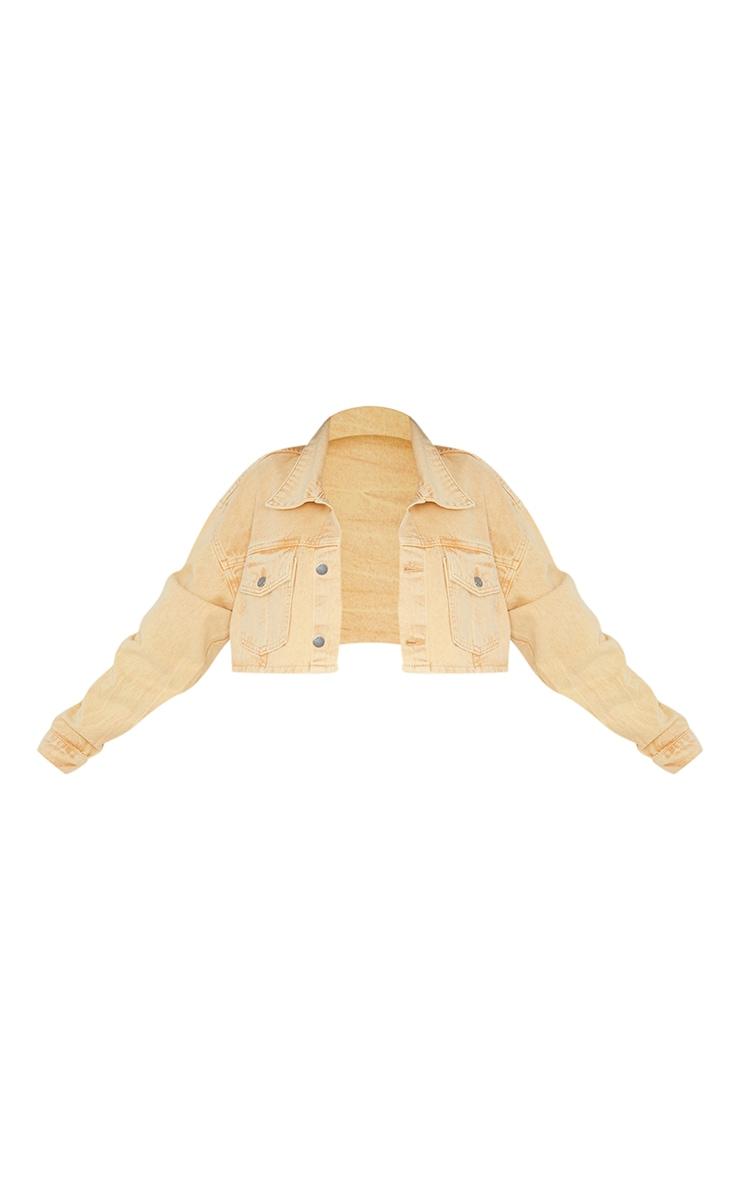Yellow Washed Cropped Denim Jacket 5