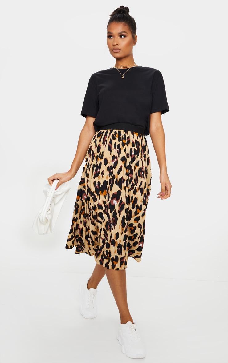 Brown Leopard Satin Pleated Midi Skirt 1