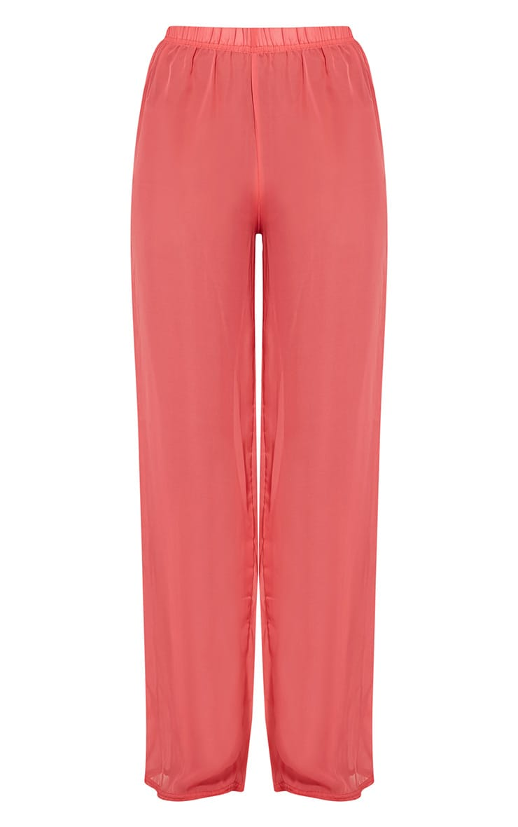 Ashlyne Coral Chiffon Beach Trousers 3