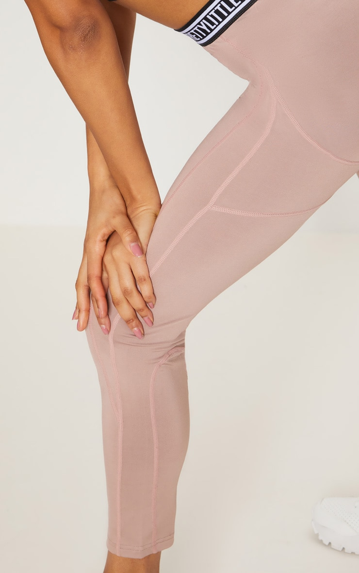 PRETTYLITTLETHING Taupe Contrast Stitch Sports Leggings 5
