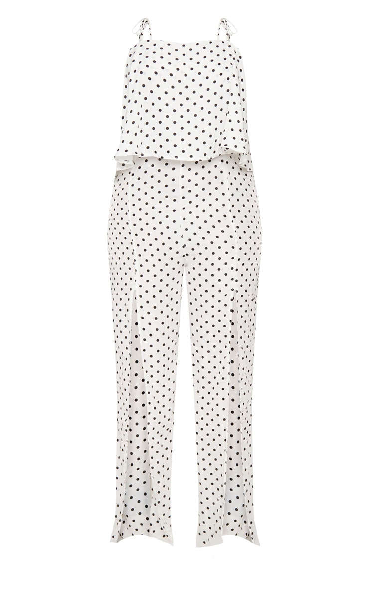 Plus White Polkadot Tie Strap Split Leg Jumpsuit 3