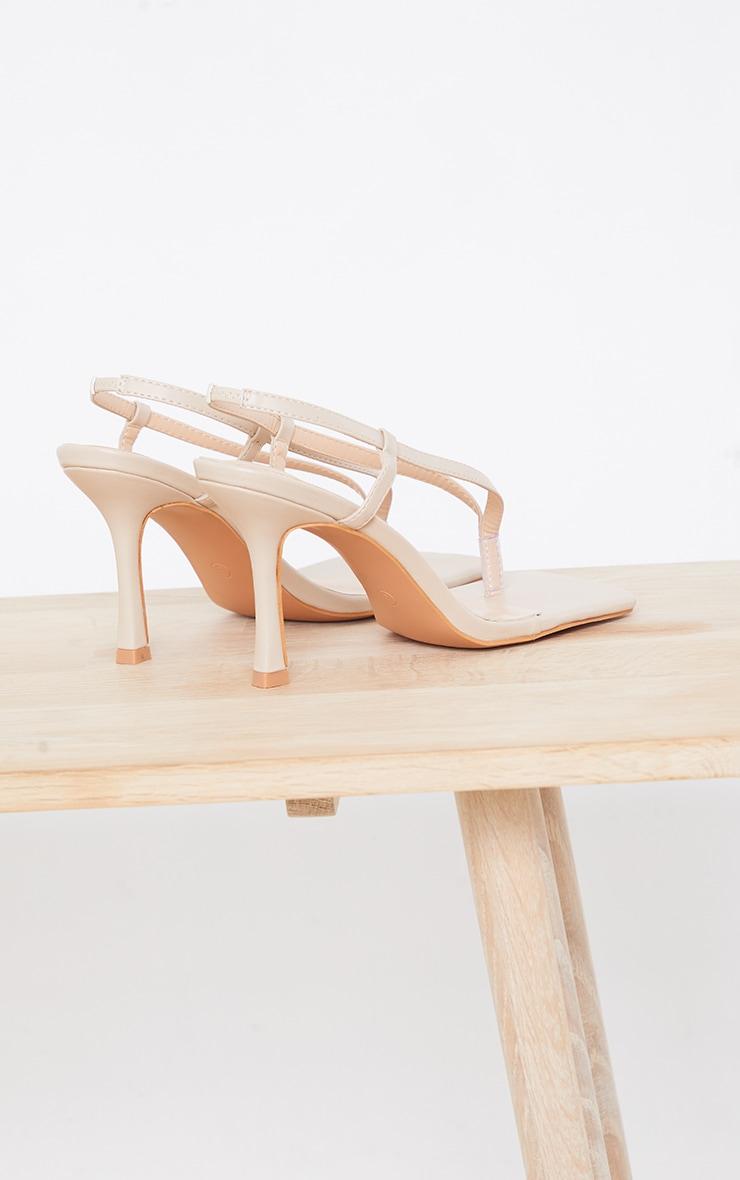 Sandales carrées en similicuir nude à bride talon 4