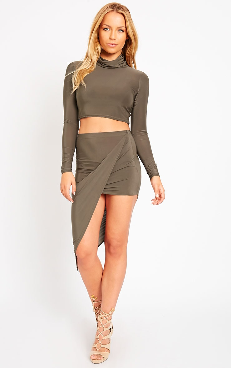 Alba Khaki Roll Neck Crop Top 3