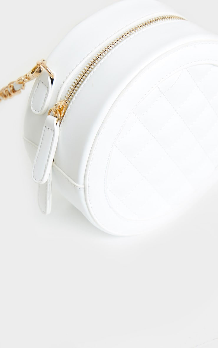 White Quilted PU Circle Cross Body Bag 3