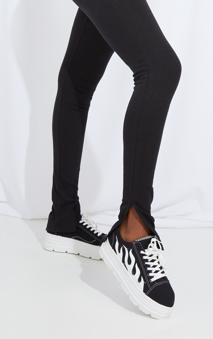 Tall Black Split Hem Ribbed Leggings 4
