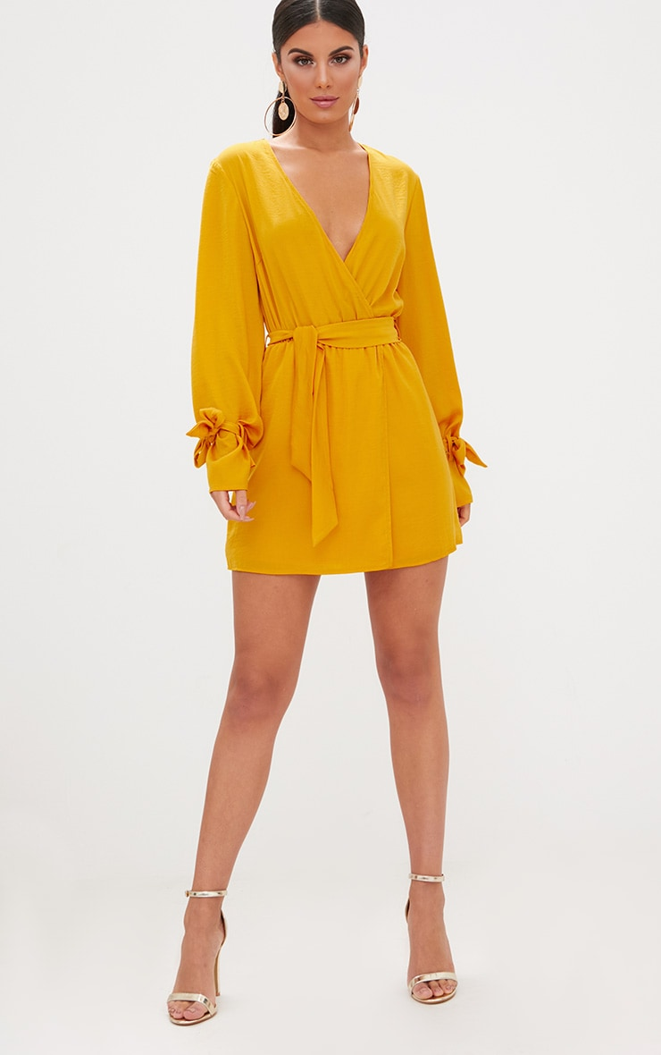 Mustard Satin Wrap Cuff Detail Shift Dress 1