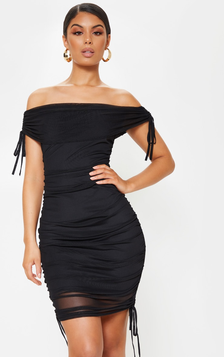Black Mesh Ruched Side Bardot Bodycon Dress 1