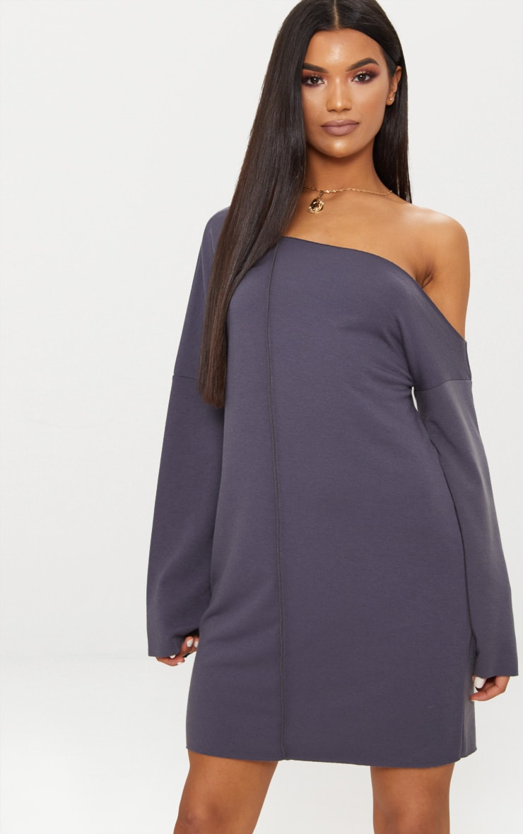 Charcoal Grey Middle Seam Off The Shoulder Jumper Dress 1
