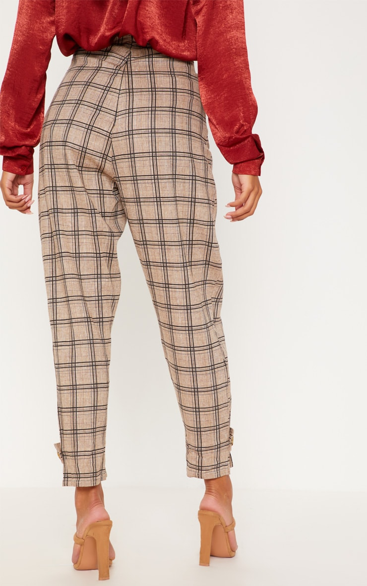 Black Check Peg Leg Trousers 4