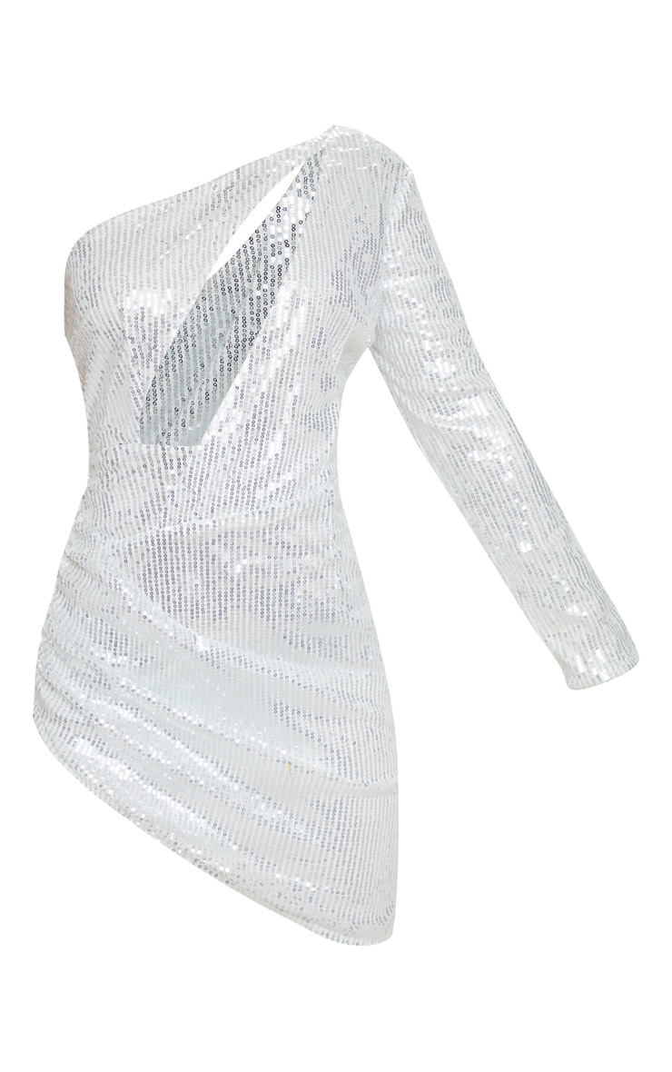 Petite Silver Sequin Cut Out Ruched Side Bodycon Dress  3