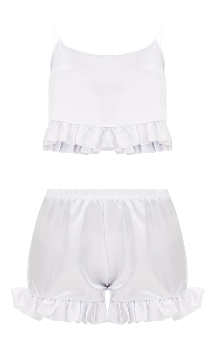White Satin Ruffle Detail PJ Set 3
