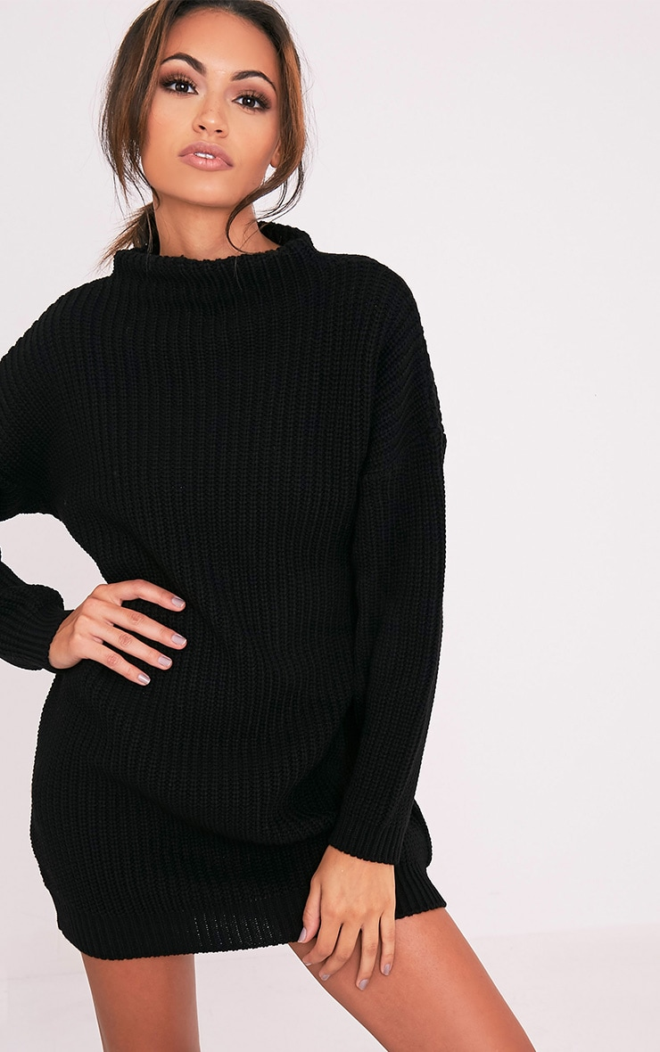 Black Oversized Knit Jumper Dress 5