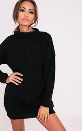 Robe noire oversized en tricot torsadé   PrettyLittleThing FR 5aa9f90cfdcc
