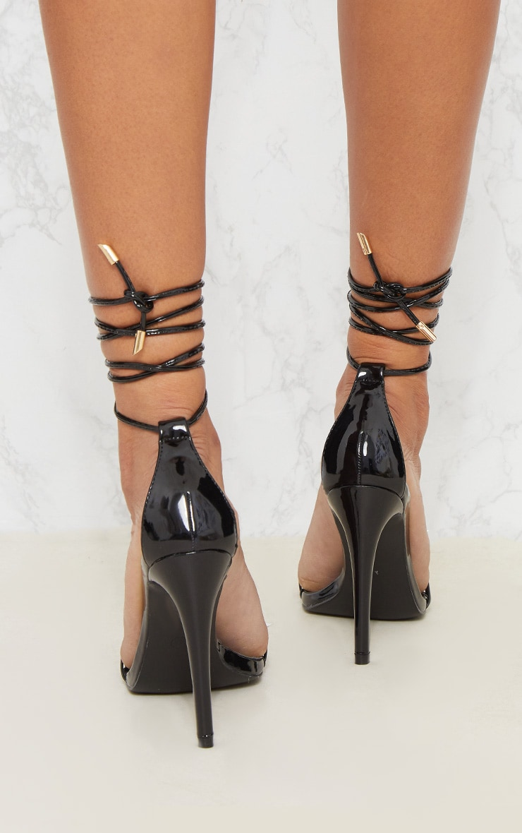 Black Strappy Barely There Ankle Tie Sandal 3
