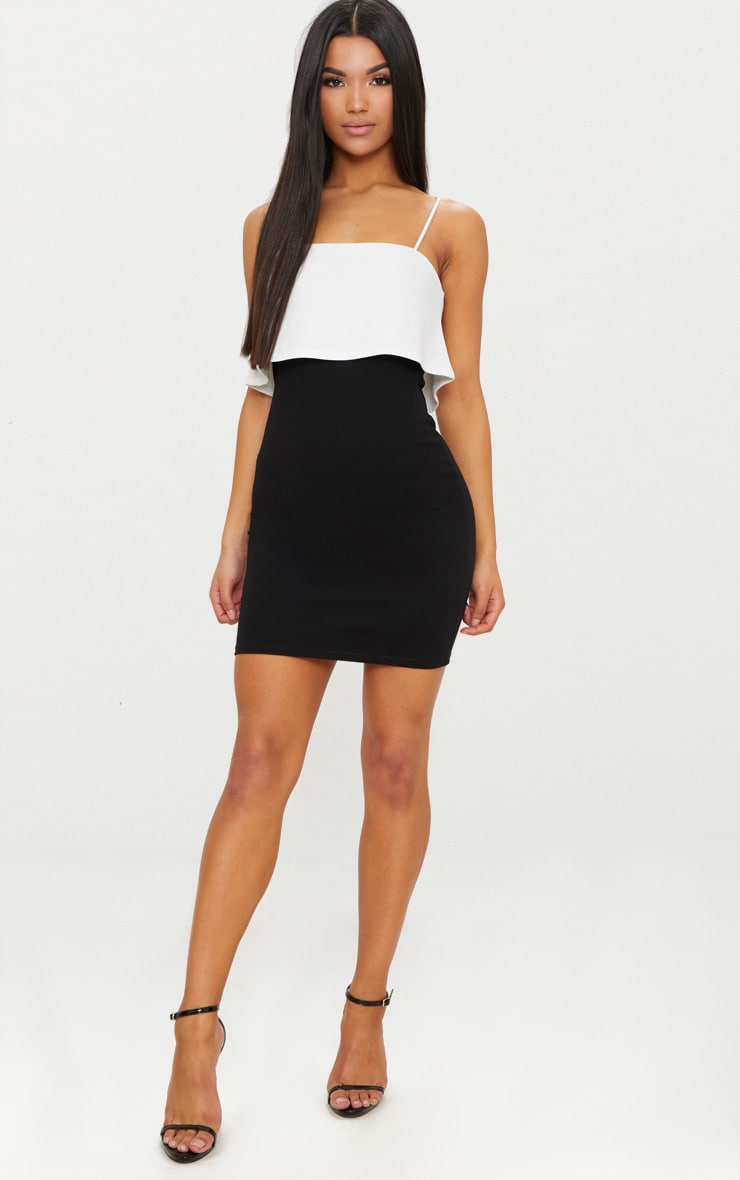Black Contrast Strappy Panel Bodycon Dress 4