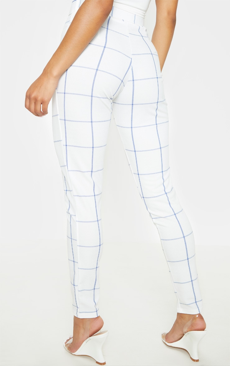 White-Navy Check Belted Waist Skinny Pants 4