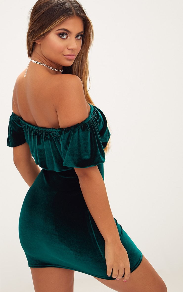 Emerald Green Velvet Ruffle Top Bardot Bodycon Dress 2