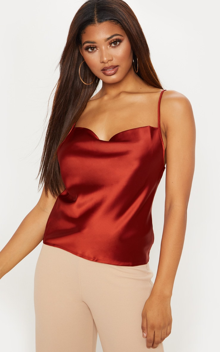Tall Tobacco Satin Cowl Neck Cami Top 4