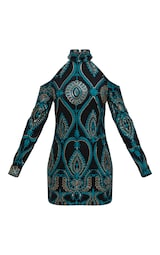 66a57193 Premium Emerald Green Sequin Embroidered Cold Shoulder Bodycon Dress image 4