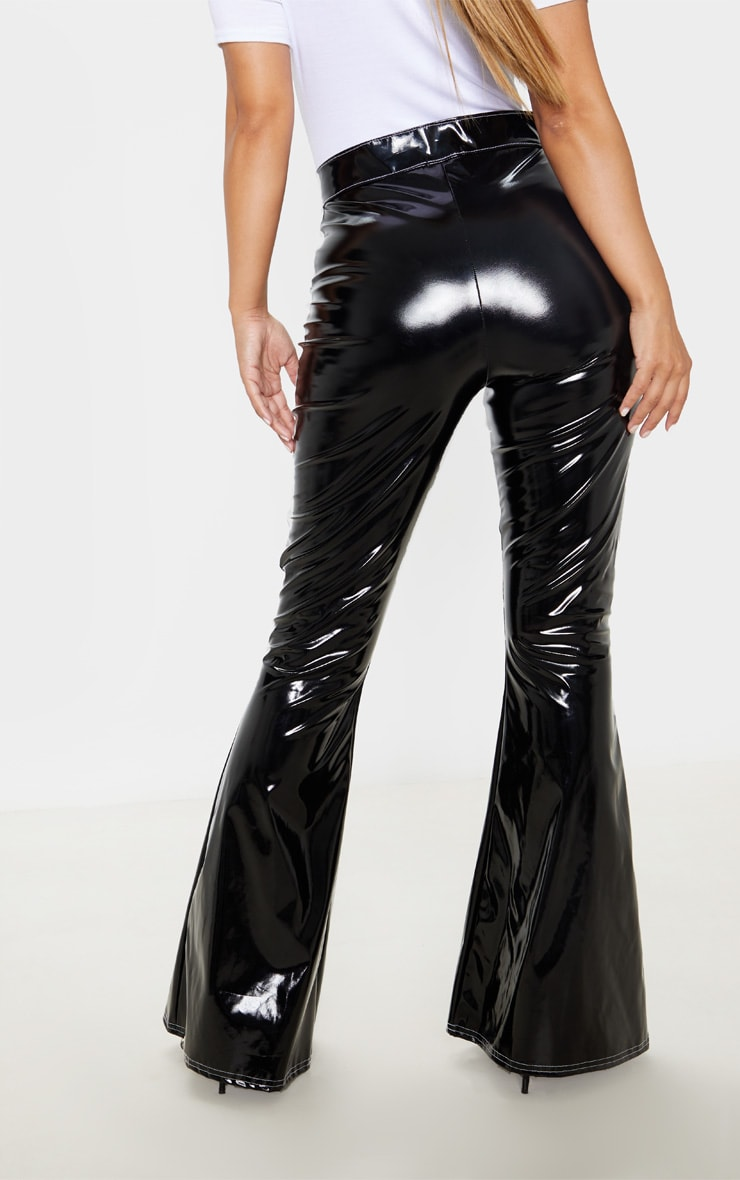 Petite Black Contrast Stitch Vinyl Flared Pants  4