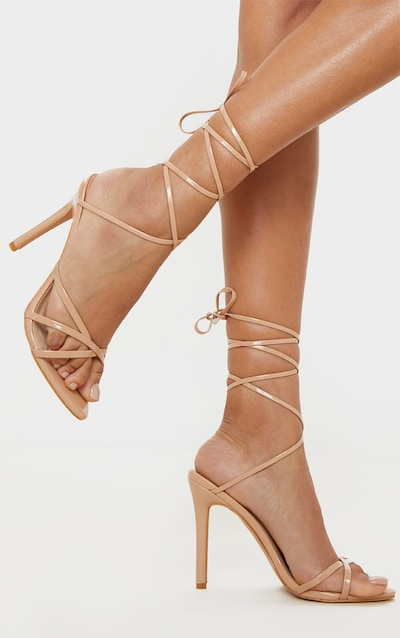 Nude Point Toe Thong Strappy High Heel Sandal