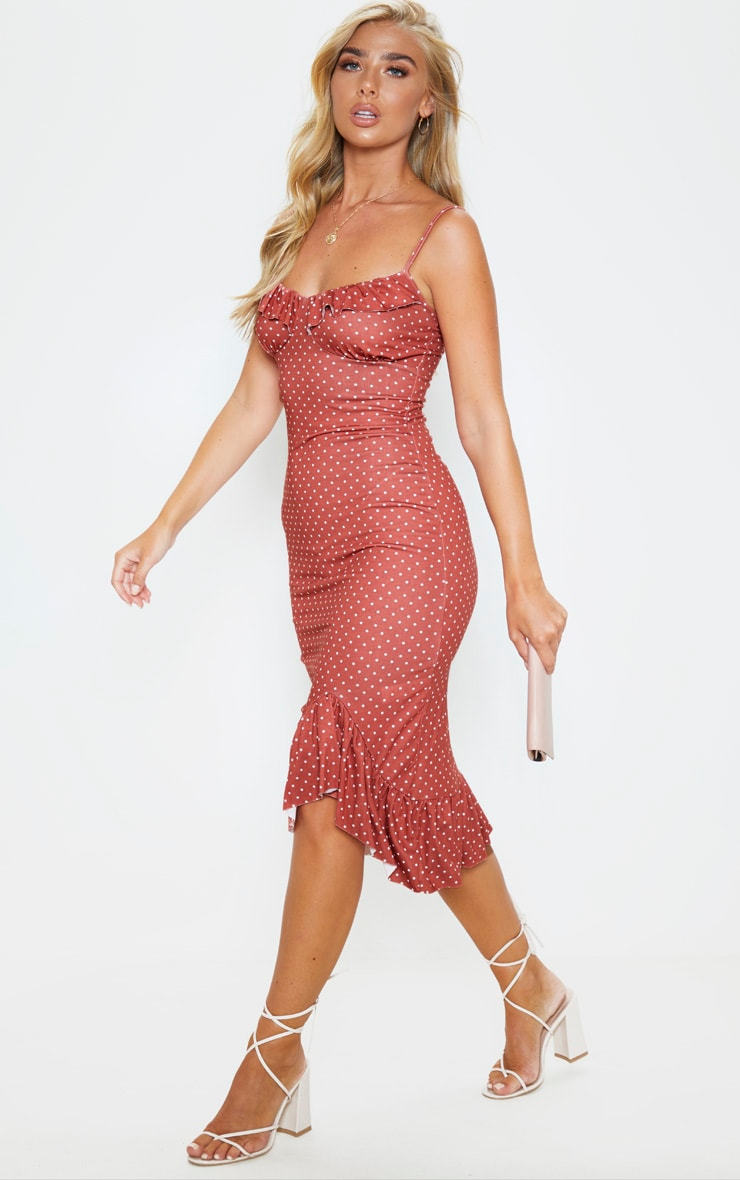 Terracotta Polka Dot Frill Hem Midi Dress 4