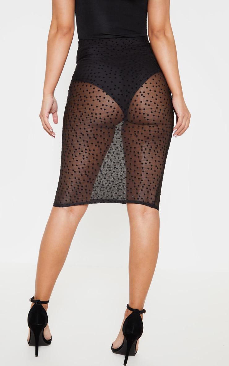Petite Black Mesh Polka Dot Midi Fitted Skirt 3