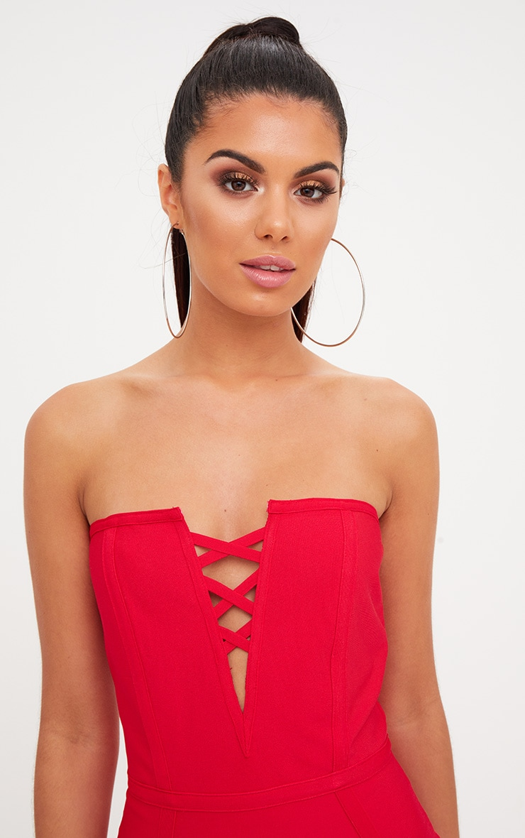 Red Bandage Lattice Detail Bandeau Midi Dress 4