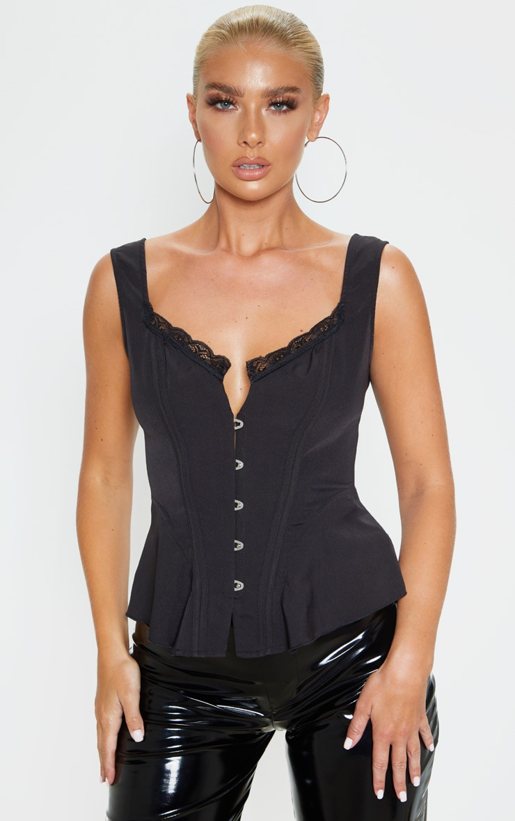 Black Woven Structured Corset Long Top 1