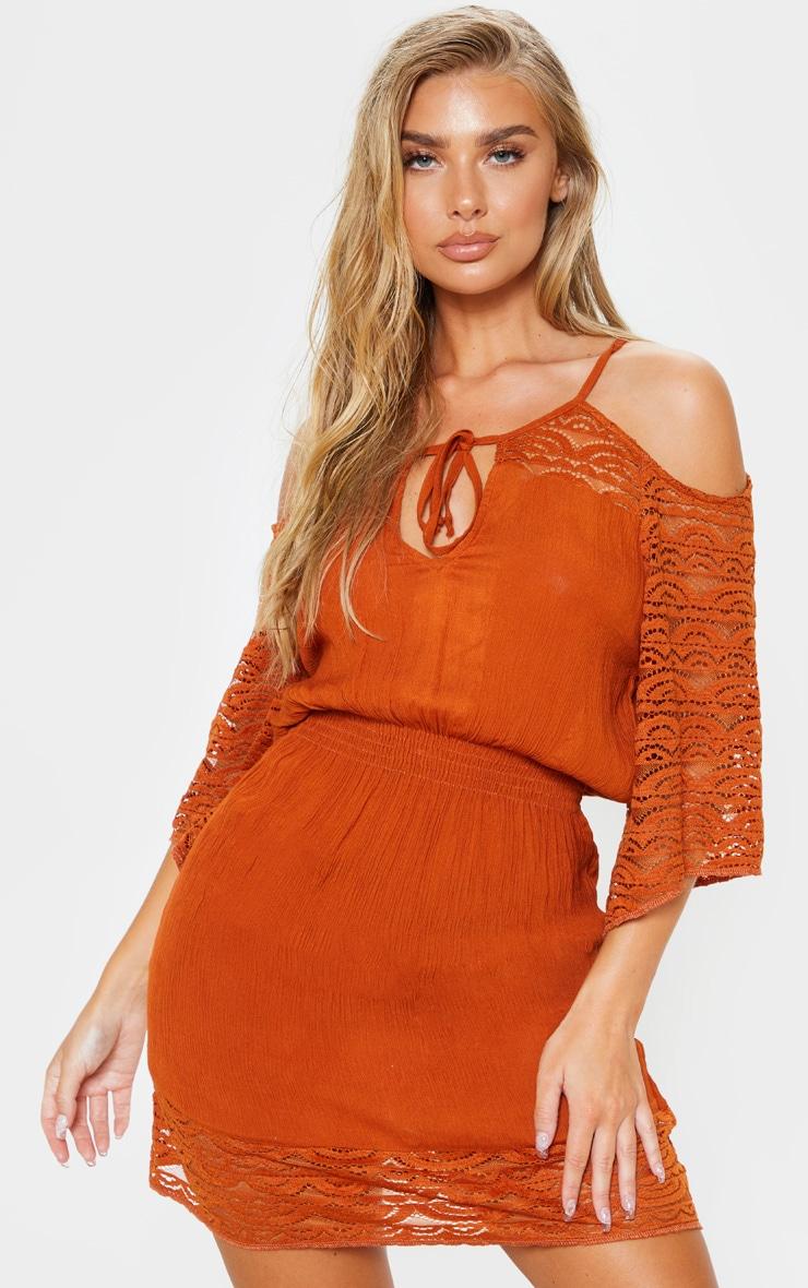 Tan Crochet Trim Cold Shoulder Beach Dress 1