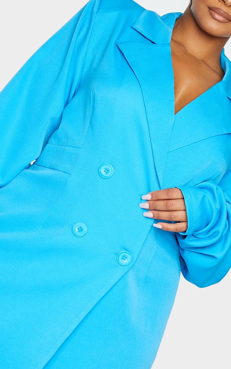 Plus Bright Blue Ruched Sleeve Oversized Blazer Dress 4