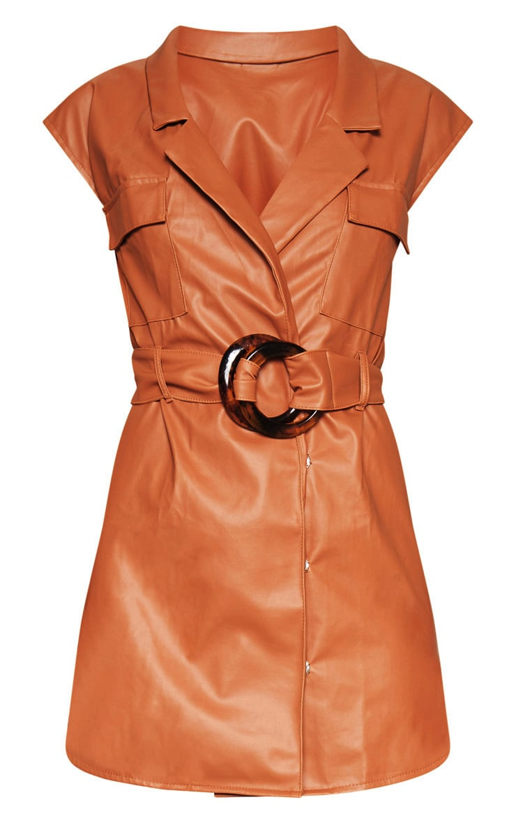 Camel Faux Leather Utility Blazer Dress 3
